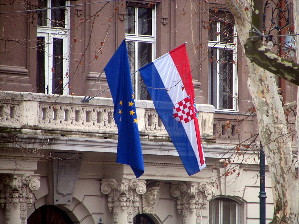 Croatia EU flags