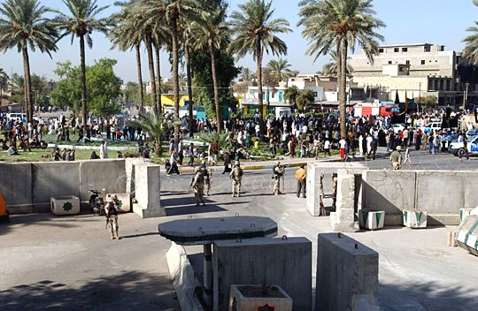 Crowds outside Camp Justice Iraq