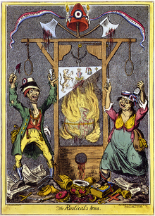 A caricature of French revolutionaries, showing two grotesque French peasants celebrating around a guillotine dripping with blood and surrounded by flames.