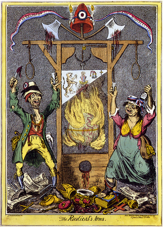 English cartoon attacking the excesses of the Revolution as symbolised by the guillotine; between 18,000 and 40,000 people were executed during the Reign of Terror. Cruikshank - The Radical's Arms.png