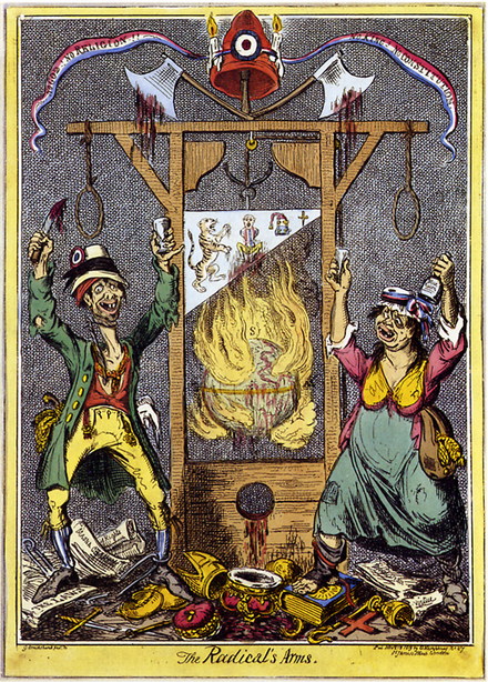 "As shown in this British cartoon by Isaac Cruikshank, the guillotine became a disparaging symbol of violent excess during the Reign of Terror. The tricolor ribbon on top is inscribed ""No God! No Religion! No King! No Constitution!"" Below the ribbon, and its Phrygian cap with tricolor cockade, are two bloody axes, attached to a guillotine, whose blade is suspended above a world aflame. An emaciated man and drunken woman dressed in ragged clothes serve as heraldic ""supporters"", gleefully dancing on discarded royal and clerical regalia. Cruikshank - The Radical's Arms.png"