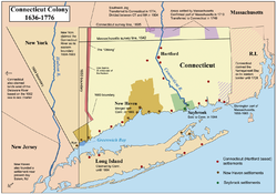 A map of Connecticut annotated to show its colonial history and the establishment of its modern borders