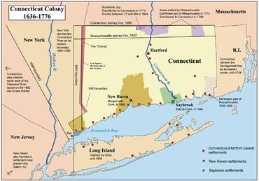 Carta delle colonie del Connecticut dal 1636 al 1776