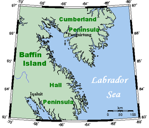 Cumberland Sound - Cumberland Sound, a part of the Labrador Sea, between Cumberland Peninsula and Hall Peninsula.