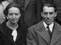 1=Irène Curie-Joliot and Frédéric Joliot, International Conference on Physics London 1934