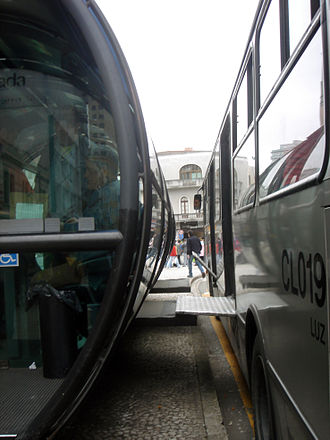 Accessibility - Accessibility to all buses is provided in Curitiba's public transport system, Brazil.