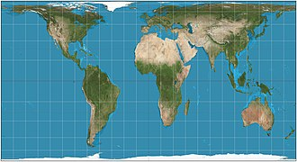 Cylindrical equal-area projection - Cylindrical equal-area projection of the world; standard parallel at 40°N.
