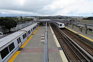 Daly City station from footbridge, March 2018.JPG