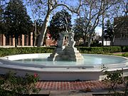 The Dancing Fountain of Academic Virtues in front of Doheny Library.