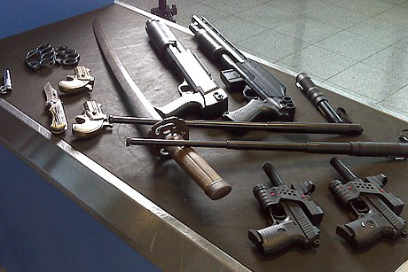 A selection of weapons collected by security officers at an airport. Dangerous weapons seized from holiday flights at Manchester Airport.jpg