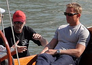 Daniel Craig on a yacht in Venice during a bre...