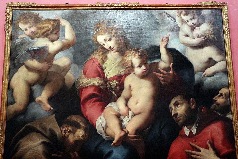 File:Daniele crespi, madonna col bambino in gloria adorata da i ss. francesco, carlo borromeo e un donatore, 1620-30 circa, da cappella sottocasa a bg 02.JPG