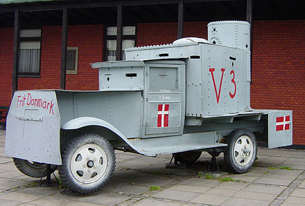 Railway shop workers in Frederiksvaerk built this armored car for offensive use by the Danish resistance. It was employed against Danish Nazis, known as the Lorenzen group, entrenched in the plantation of Asserbo in North Zealand, May 5, 1945. DanishResistanceAC2795.jpg