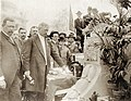 David R. Francis touching the button to open the 1904 World's Fair on Opening Day, 30 April 1904.jpg