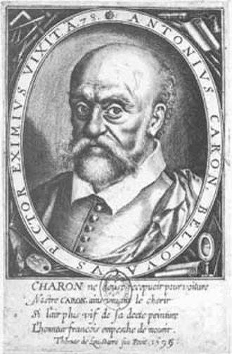 Antoine Caron - Engraving of Antoine Caron by Thomas De Leu, 1599