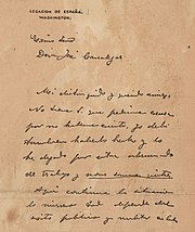 The first page of the De Lôme Letter .
