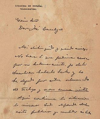 De Lôme Letter - The first page of the De Lôme Letter.