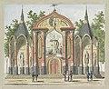 De Vernietiging van de Oude Constitutie, decoratie op de Botermarkt, 1795 Tien platen van de decoraties bij het Alliantiefeest te Amsterdam in 1795 (serietitel), RP-P-1892-A-17499.jpg