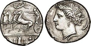 Syracuse, Sicily - Decadrachme from Sicile struck at Syracuse and sign d'Évainète