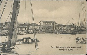 Alexandroupoli - The port in 1908 showing damage from a severe storm.