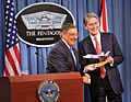 Defense.gov News Photo 120718-D-NI589-288 - Secretary of Defense Leon E. Panetta presents a model of the F-35 Joint Strike Fighter to the United Kingdom s Secretary of State for Defense Philip.jpg
