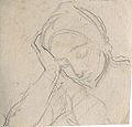 Dehodencq A. - Pencil - Personnage avec la tête reposant sur la main - 10x10cm.jpg