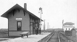 Hamlet, Indiana - Depot in Hamlet, circa 1910