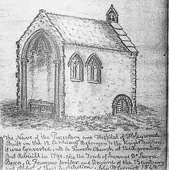 Dercongal Abbey - The nave of the hospital and preceptory of the abbey as sketch in 1849, seven decades since the demolition of the abbey ruins.