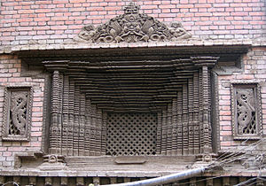 Wood carving - Desay Madu Jhya (window) in Kathmandu, Nepal is a specimen of traditional Nepalese wood carving.