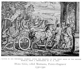 The Triumph of Titus and Vespasian; the men in a horse-drawn chariot, an angel with crowns above them, a triumphal arch at right and landscape beyond
