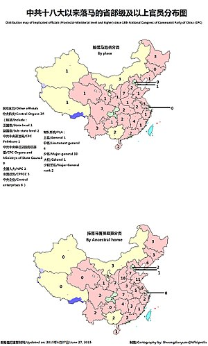 Anti-corruption campaign under Xi Jinping - A distribution map of implicated officials (Provincial-Ministerial level and higher) since 18th National Congress of the Communist Party of China.