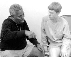 Stanford Jazz Workshop -  Trumpeter Dizzy Gillespie with drummer Bill Stewart at 1984 Stanford Jazz Workshop