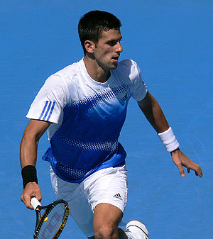 English: Djokovic at his 2008 Australian Open ...