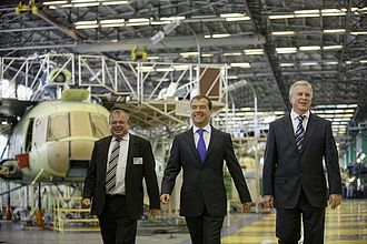 Ulan-Ude Aviation Plant - Russian President Dmitry Medvedev visiting the Ulan-Ude Aviation Plant in Buryatia August 2009