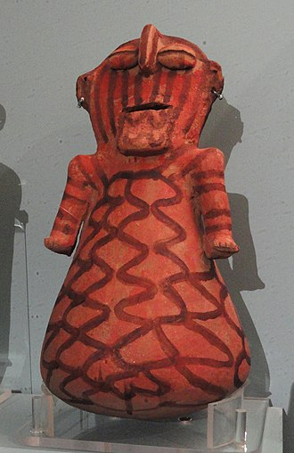 Mohave people - Mojave ceramic figurine with red slip and earrings, pre-1912, Peabody Museum of Archaeology and Ethnology