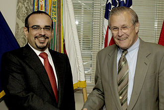 Foreign relations of Bahrain - Donald Rumsfeld meeting with Salman bin Hamad bin Isa Al Khalifa at the Pentagon.