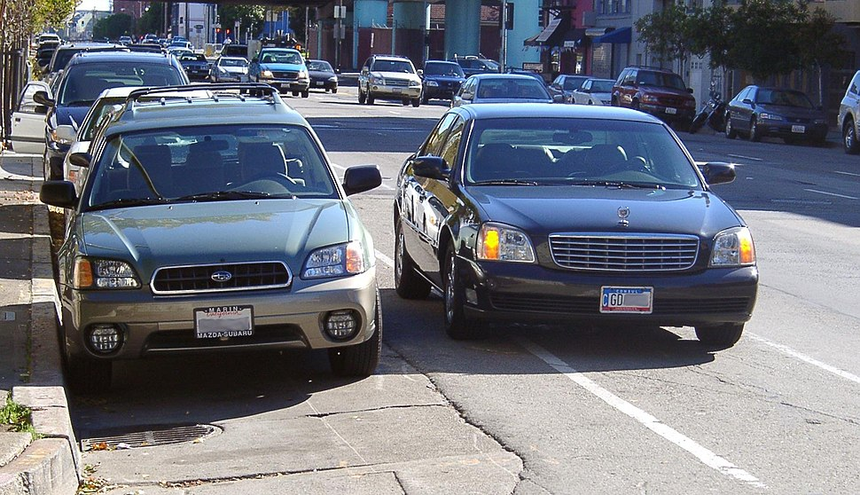 Double parked car with diplomatic tags in San Francisco