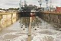 Drydock of USS John F. Kennedy (CVN-79) at Newport News Shipbuilding is flodded on 29 October 2019 (191029-N-BD319-123).JPG