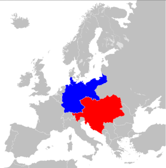 Dual Alliance (1879) - The Dual Alliance in 1914, Germany in blue and Austria-Hungary in red