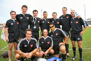 Bobby Skinstad - Dubai 7's 2006 - Stefan Czerpak BHF Team. Skinstad is in the back row, 2nd from the left
