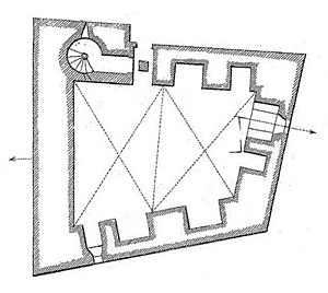 Tour Philippe-le-Bel - A plan of the ground-floor. The western wall is 16 m in length.