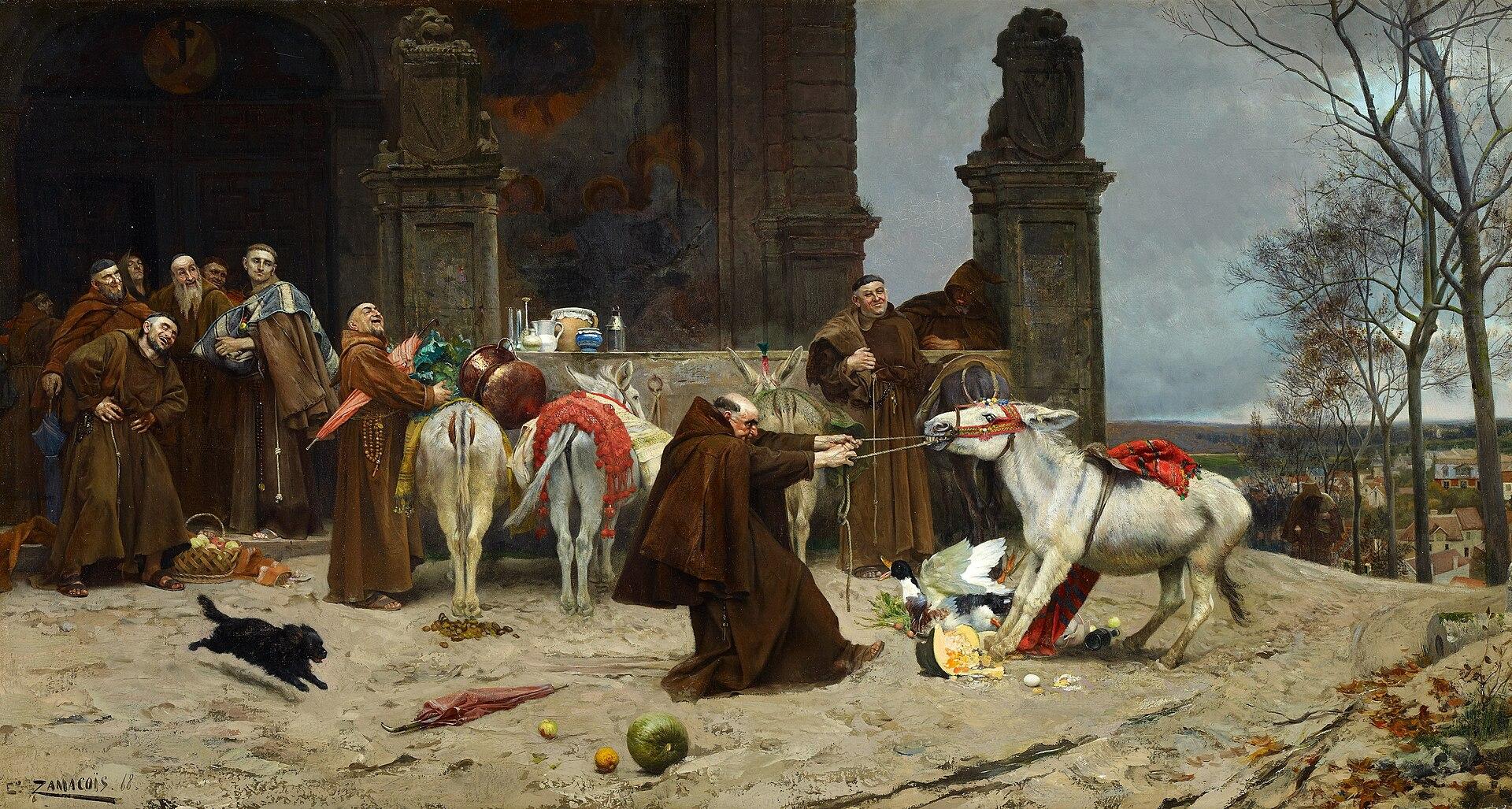 ЭДУАРДО ЗАМАКУА-И-ЗАБАЛА - Regreso al Convento (Музей Кармен Тиссен, Малага, 1868 г. Óleo sobre lienzo, 54,5 x 100,5 см) .jpg