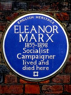 Eleanor marx 1855 1898 socialist campaigner lived and died here