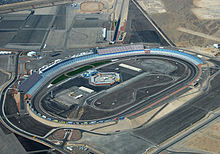 Aerial photograph of the Las Vegas Motor Speedway, showing the full layout of the track.