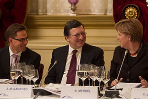 Jyrki Katainen, José Manuel Barroso and Angela...