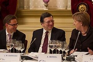 Jyrki Katainen, José Manuel Barroso and Angela...