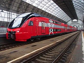 Moscow Kiyevskaya railway station - A double deck ESh2 Aeroexpress to Vnukovo International Airport
