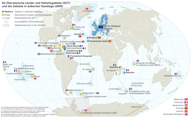 Karte der Europäischen Union (EU) mit Überseeischen Ländern und Hoheitsgebieten (OCT) und die Gebieten in äußerster Randlage (OMR)