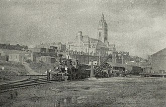 Pioneer Valley Railroad - Image: Early Westfield railroad engine with Holyoke City Hall