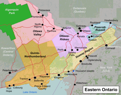 Map Of Eastern Ontario Canada Eastern Ontario – Travel guide at Wikivoyage